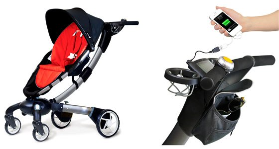 "Origami: Baby stroller with a screen for ""geeks"" parents"
