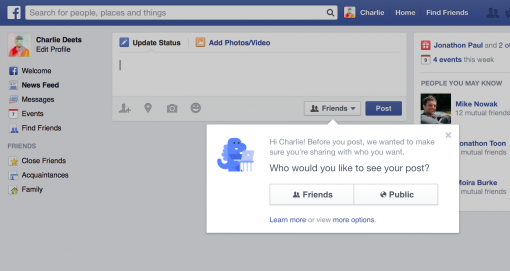 Facebook increases privacy to new users
