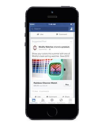 Facebook puts to test a button for purchases